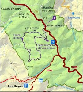 Mapa ruta Las Creces