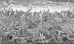 Grabado destruccion terremoto Lisboa 1755